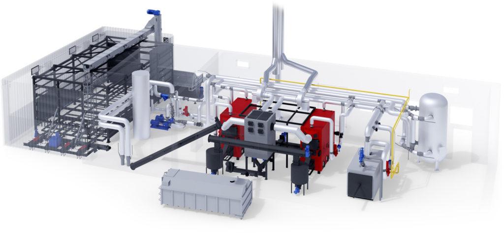 Biofuel boiler houses